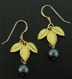 Gold Exotic Matte Leaf w/ Tahitian Earrings