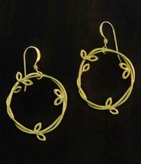 Gold Vine Leaf Earrings