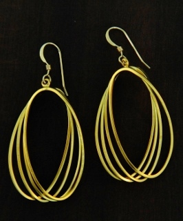 Gold Matte Quad Earrings