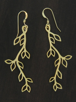 Gold Matte Vine Twigs Earrings