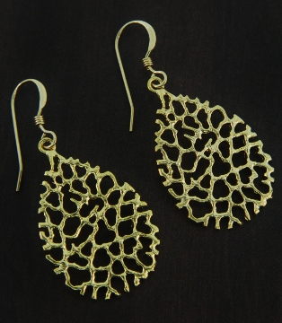 Gold Coral Teardrop Earrings