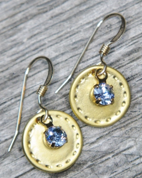 Gold Reflection Earrings - Blue