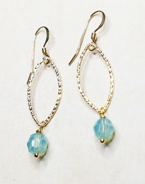 Gold-Filled Hammered Lotus Petals Earrings - Pacific Opal