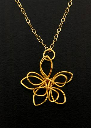 Gold Wire-Wrapped Lotus Necklace