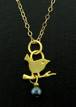 Gold Tahitian Crystal Little Birdie Necklace