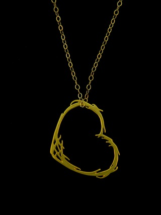 Gold Matte Floating Heart Necklace