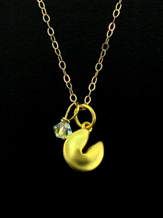 Gold Lucky Fortune Cookie Necklace