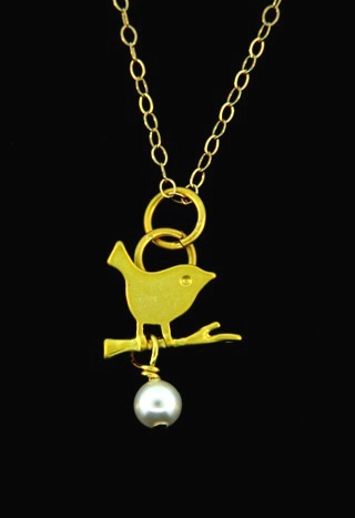 Gold Matte Little Birdie Necklace w/ Crystal White Pearl