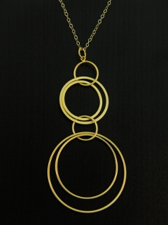 Gold Large Multiple Hoops Necklace