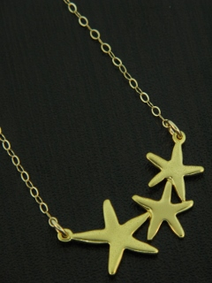 Gold Starfish Cluster Necklace