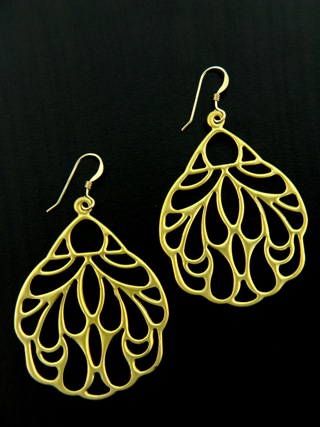 Gold Matte Peacock Earrings