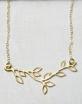 Gold Matte Vine Twigs Necklace