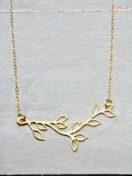 Gold Matte Vine Twigs Necklace