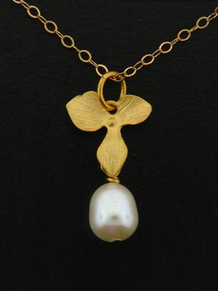Gold White Pearl Orchid Necklace