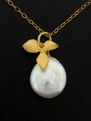 Gold Coin Pearl Orchid Necklace
