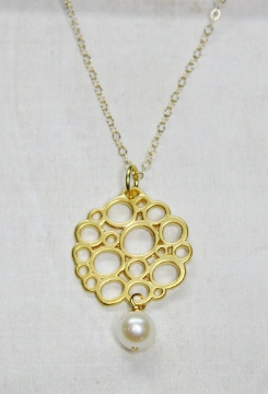 Gold Matte Flat Bubble Pearl Necklace