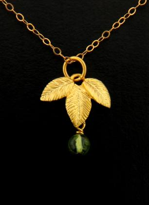 Gold Exotic Leaf with Peridot Necklace