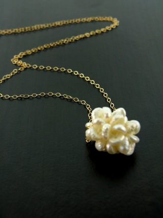 Gold Pearl Cluster Necklace