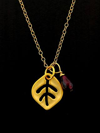 Gold Matte Leaf Necklace with Garnet