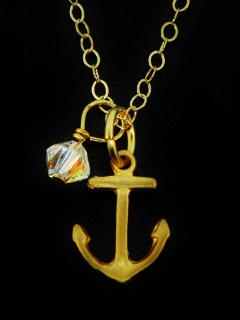Gold Matte Anchor Necklace