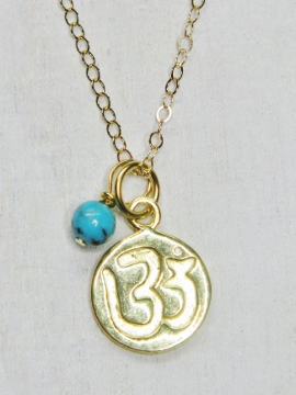 Gold Ohm Disk Necklace
