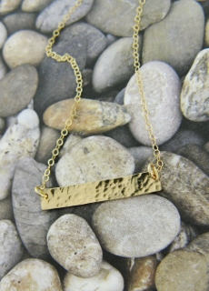 Gold Filled Hammered Bar Necklace