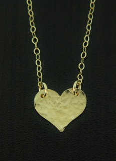 Gold Tiny Hammered Heart Necklace