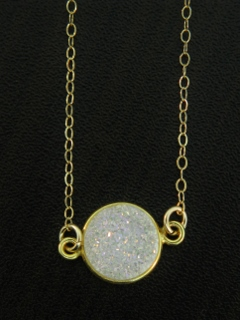 Gold Bezel Druzy Necklace - Rainbow White