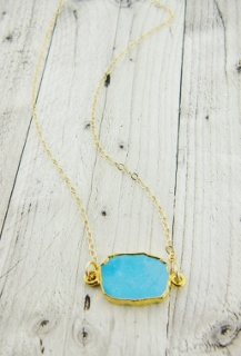 Gold Druzy Slice - Blue