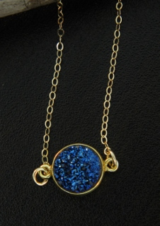 Gold Bezel Druzy Necklace - Blue