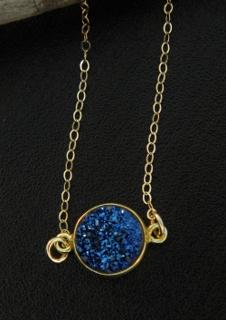 Gold Bezel Druzy Necklace - Blue