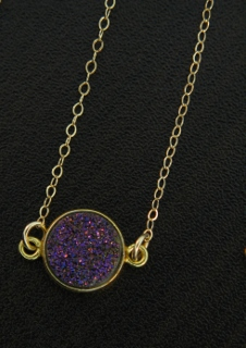 Gold Bezel Druzy Necklace - Violet