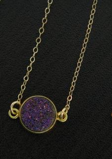 Gold Bezel Druzy Necklace - Violet