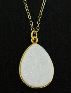 Gold Druzy Pear Necklace - Rainbow White