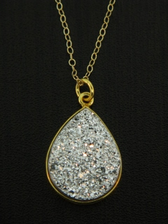 Gold Druzy Pear Necklace - Silver
