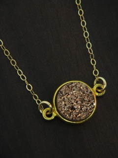 Gold Bezel Druzy Necklace - Copper