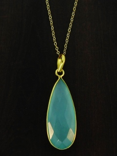 "30"" Gold Teardrop Chalcedony Necklace"