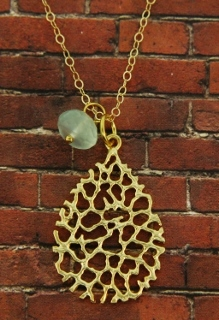 Gold Coral Teardrop Necklace