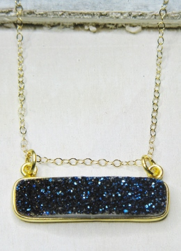 Gold Druzy Bar Sideways - Blue