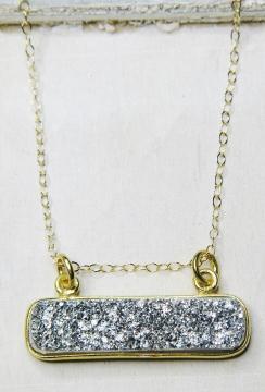 Gold Druzy Bar Sideway - Silver