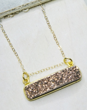 Gold Druzy Bar Sideways - Copper