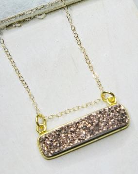 Gold Druzy Bar Sideway - Copper