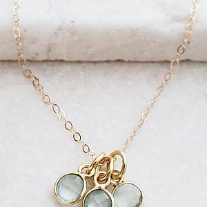 Gold Gemstone Cluster Trio Necklace - Aqua Chalcedony