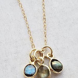 Gold Gemstone Cluster Trio Necklace - Labradorite