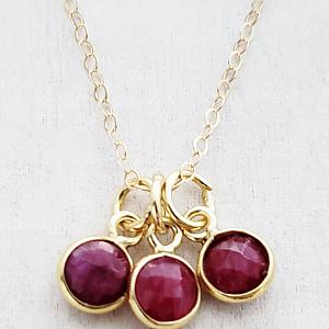 Gold Gemstone Cluster Trio Necklace - Ruby