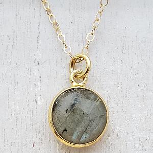 Gold Round Labradorite Necklace
