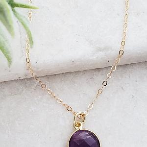 Gold Round Amethyst Necklace