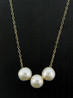Gold Pearl Trio Necklace - White