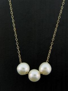 Gold Pearl Trio Necklace - White