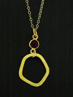 Gold Organic Ruby Necklace